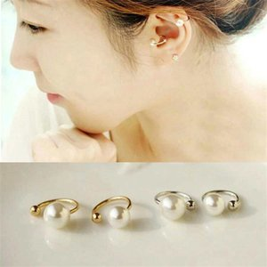 New Vintage Silver Gold ear cuff fashion women's spring jewelry simple stylish simulated pearl non-pierced Ear clip earrings 2sizes ZS3