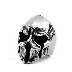 Vintage Paslanmaz Çelik Spartan Savaşçı Kaskı Halka Titanyum Çelik Punk Skull Yüzük İçin Erkekler qSP5 #