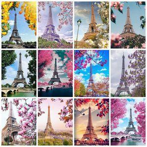 Evershine completa Praça Diamante Pintura Torre Eiffel 5D DIY Mosaic Full Set Bordado Paisagem Rhinestone Pictures Home Decor gax6 #