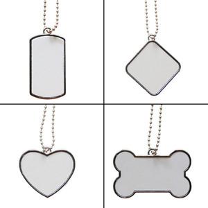 Em branco tag cão sublimação de aço inoxidável pet cartão de identificação do gato filhote de cachorro etiqueta de identificação de metal pendant pet com corrente