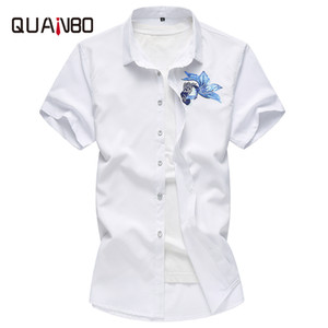 Quanbo 2020 Neue Jugend Mens Stickerei Wal Fest Farbe Kurzarmhemd Men Casual Sommer Shirts Große Größe 5XL 6XL 7XL 0.