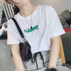 j3pL0 20 estate di nuovo modo di stile coreano semplice T-shirt piccola lettera di stampa del cotone allentato short bianchi donne della maglietta Y109 manicotto