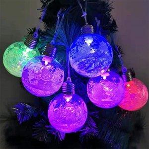 LED 크리스마스 눈덩이 빛 투명 볼 LED 빛 눈덩이 행잉 펜던트 공예 크리스마스 장식 정원 눈 조각