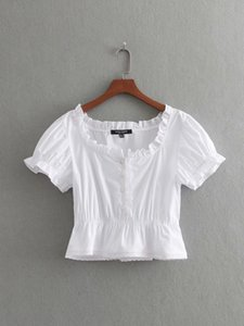 Summer new slim short-sleeved lace Lotus collar elastic waist square collar White small top for women