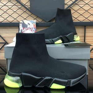 2020 New Balenciaga Speed Trainer Black White Green Air Cushion Casual Shoes Black Neon Socks Fashion Sneakers 36-45