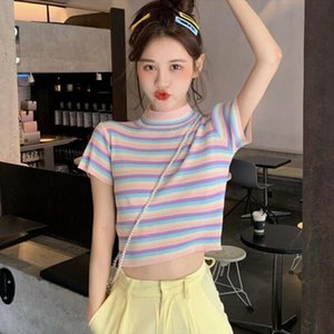 2020 Summer ice color tee shirt female short Cute t shirt rainbow striped slim knitting Top Short Sleeve Turtleneck