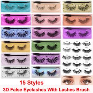 15 estilos cílios postiços 3D Mink cílios com rímel escova macia Grosso Natural Glitter Extensão Mink Lashes reutilizável Eye cílios Maquiagem