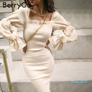 Venta caliente BerryGo de punto de las mujeres de la manga de soplo de la tela escocesa elegantes de la fiesta del hombro vestido de las señoras atractivas streetwear vestidos de oto?