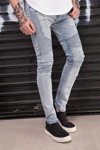 الأزياء أوم سليم مصمم الستارة قلم رصاص السراويل مصمم رجالي ثقوب الجينز تمتد الكورية الرجال سروال مرصوف