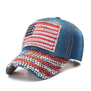 trump baseball cap USA hat election campaign hat cowboy diamond cap Adjustable Snapback Women Denim Diamond hat 6 colors OWF1277