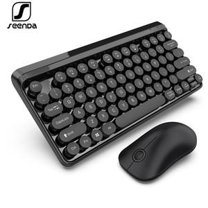 Teclado Seenda 2.4G y ratón inalámbricos Teclado Multimedia chocolate Key Cap Multi Sistema inalámbrico compatible