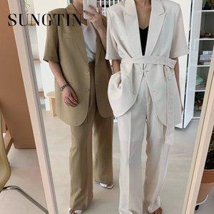 Sungtin Korean Chic Loose 2 Piece Women Pants Lace Up High Waist Wide Leg Ladies Suits Formal Set Pant and Blazer