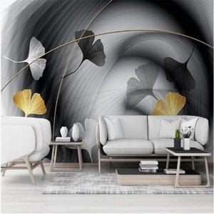 Milofi custom 3D wallpaper mural modern minimalist abstract smoke line ginkgo leaf background wall mural