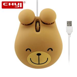 Chyi Mini Wired Mouse Netter Karikatur-Frosch-Tiger Broen Bear Design Computer-3D für Kinder Maus 1600 DPI optische USB Kleine Hand Muase
