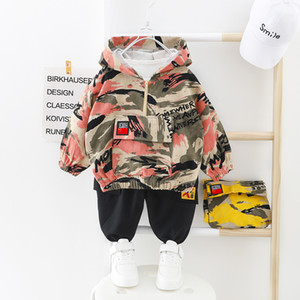 Kids Boy Clothes Camouflage Baby Suit Hooded Camo Top + Pants Sport Children Kids Outwear Baby Gifts for Newborn Boys Green LJ201203