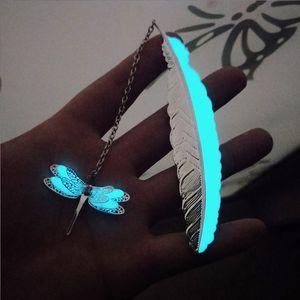 Presentes Kawaii prata do metal Pena Marcadores Luminous Dragonfly borboleta Indicadores para livros Escritório de papelaria material escolar