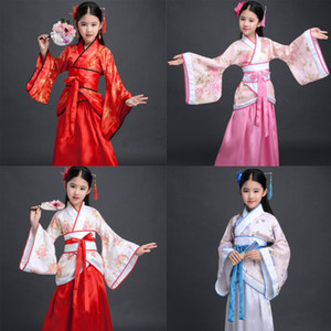 2020 Traditional Chinese Dresses For Women Phoenix Party Embroidery Hanfu Cheongsam Dance New Year Costumes For Girls 100-170CM