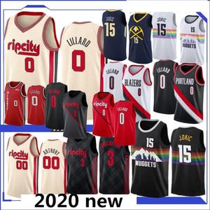 camiseta de la NCAA Damian Lillard 0 Carmelo Anthony 00 15 Jokic jerseys del baloncesto C. J. 3 McCollum 27 Murray nueva calidad superior