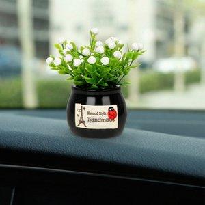 Auto-Verzierungen künstlichen Blumen Kreative Resin Topfpflanzen Auto Inneneinrichtungen Car Styling nette Armaturenbrett Dekors pmlo #