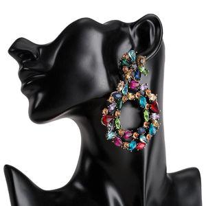 Boucles d'oreilles de luxe en cristal pour femmes 2020 grosse déclaration colorée Boucles d'oreilles grandes boucles d'oreilles strass Boucles d'oreilles audacieuses