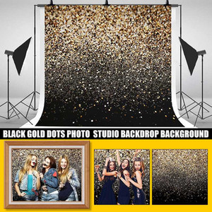 фотографический фон Винил партия Блеск Black Gold Dot Photo Studio Backdrop Фотография фон для Фотостудия