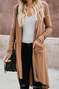 Loose Ladies Sweaters Fashion Female Clothing With Button Cardigan Womens Sweaters Long Solid Color
