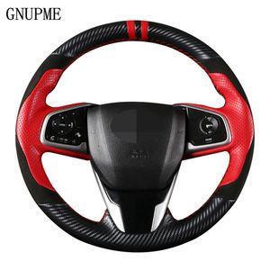DIY Preto Couro Suede Carbon Fiber Car cobertura de volante Para Honda Civic 10 Gen 2016 2017 2018