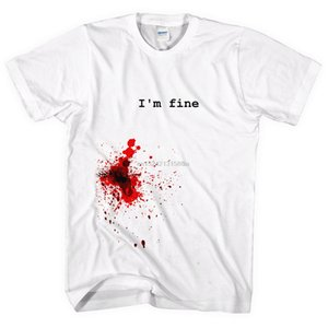 Ich bin fein T-Shirt Blood Stain Splatter Halloween Gunshot Stichwunde-Mann-Dame