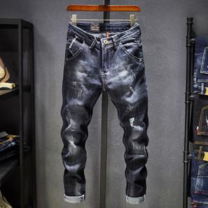 Мужские джинсы Brand Robin 2020 Hip Hop Осень Ripped для мужчин Сплошной Cotton Полная длина Mid Черный цвет Продажа