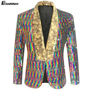 Men's Colorful Sequin Shawl Collar Tuxedo Suit Blazer Wedding Groom Singer Prom Glitter Suit Jacket DJ Club Stage Blazer Hombre