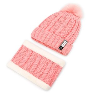 Women's winter wool hat plus velvet knit hat, warm ear protector collar set of two sets, hair ball cute pullover cap