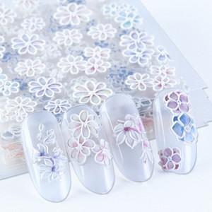Белые цветы 5D Резные ногтей наклейки гравированные Лепесток Slider самоклеющиеся Таблички Nail Art Decoration Полная Wrap BE1019 МПСФ #