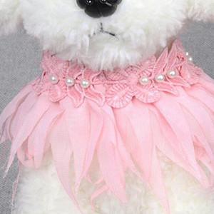 애완 동물 개 목걸이 애완 동물 목걸이 스카프 개 점프 레이스 꽃 조정 고양이 공주 스타일 웨딩 보석