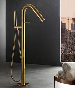 Matt Gold Burnish Bathroom Luxury Tub Sink Faucet Floor Mount Bathtub Mixer Tap Solid Brass Set Free Standing Hot and Cold Bath