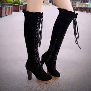 Boots Women New 2020 Women's Rubber Shoes Rain Booties Ladies Lace Up Platform Winter Footwear Sexy Thigh High Heels High