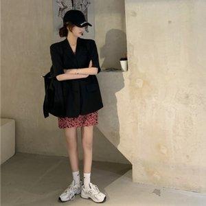 a9LJV verão Ruiyifan preto com suspender Sling saia nova 5Cf5E coat floral terno vestido suspender + de manga curta saia curta