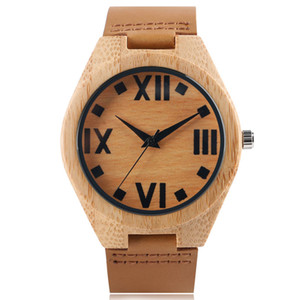 Wooden Watches Quartz Watches Men Big Roman Numbers Face Sport Leather Bamboo Analog Casual Women 100% Nature Wood Wristwatches