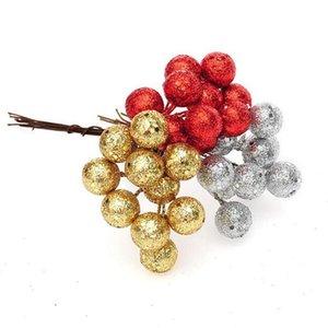 Or Red Babioles Sliver Noël Couleur Arbre étamine Boules Hanging Pendentif ornement pour Xmas Party Decorationin Stack33665