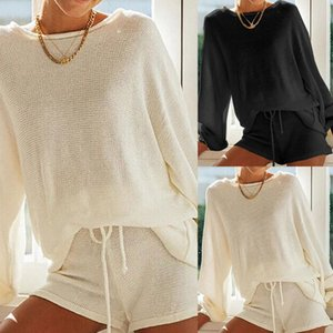 Summmer Autumn Women's Knitted Solid Long-Sleeved Round Neck T-Shirt Shorts Casual Sports Suit Solid Color Suit ropa de mujer