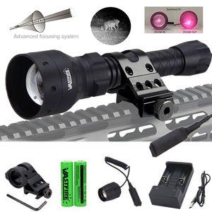 400 yards T50 Zoomable infrarossi con Red IR laser 850nm di caccia della torcia + Supporto Cannocchiale + Switch + 2 * 18650 + USB Charger