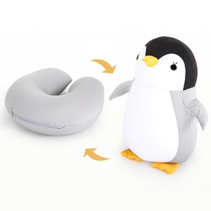 Hot Sale Cute Penguin Deformable U-shaped Plush Pillow Travel Pillow Cartoon Animal Car Headrest Doll Multi-functional Storage MX200716