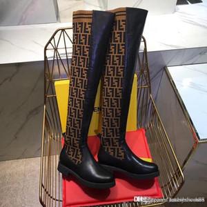 2020 de moda de lujo de las mujeres del calcetín Botas 24 pulgadas Delgado Over-the-Rodilla Botas de punto elástico del muslo plano del talón de las mujeres botas de invierno