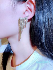 Hot Sale Popular new fashion luxury designer super sparkling full rhinestone diamond long tassel exaggerated stud earrings jewelry for women