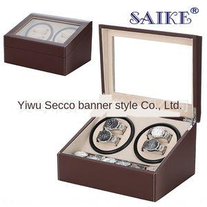 Double-tête brune boîtier de direction PU boîte de montre électronique automatique de la chaîne électronique électrique montre électrique shaker