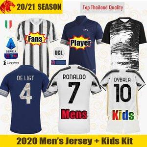 20 21 Juventus maillots de football RONALDO 2020 2021 Fans Version du joueur DE LIGT maillot de football DYBALA Juve hommes + enfants kit uniformes
