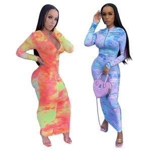 Robe Printemps Automne Tie Dye Imprimer manches longues Zipper mi taille Stacked Robes 2020 Femmes Designer