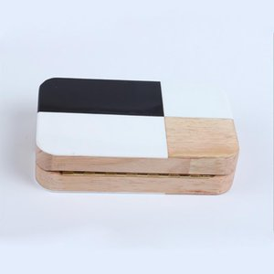 New-handbag perfume acrylic evening bags patchwork wood clutch box brick messenger for party - L5119