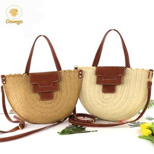 OSWEGO Новой полукруга солома сумка 2020 Моды ретро Марк Дизайнер Ткачество сумка лето Bohemia солома Crossbody сумка женщины