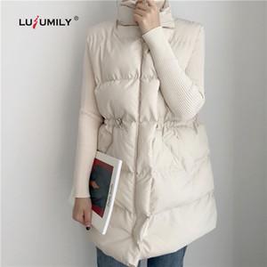 Lusumily Winter Herbst Thick Damenweste Ärmel Stehkragen Warm Baumwolle Weste Kordelzug Beiläufiges Down Jacket Female Coats