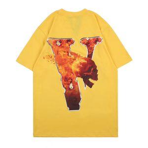 Vlone Tees Moda Erkek Stilist Tişörtlü Vlone Womens Tişörtlü İyi Kalite Sarı Tişörtlü Tees Boyut S-XL